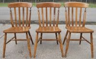 SOLD - Set of Three Beech Windsor Lathback Kitchen Chairs